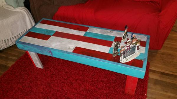 recycled pallet colorful coffee table