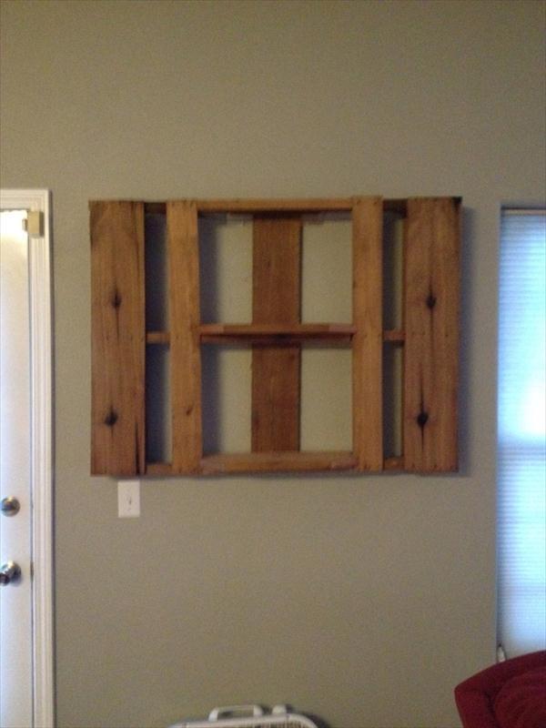 upcycled pallet custom built shelf