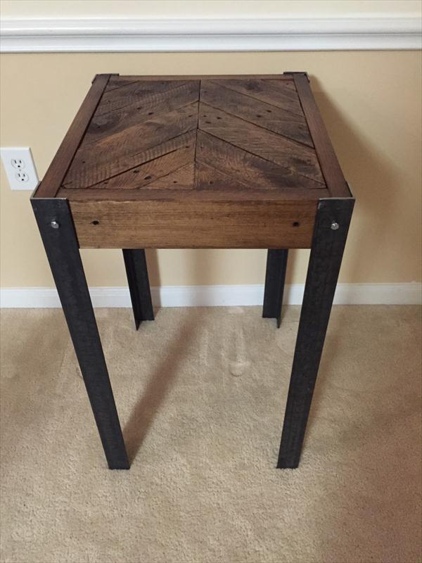diy pallet wood chevron end table pallet furniture plans