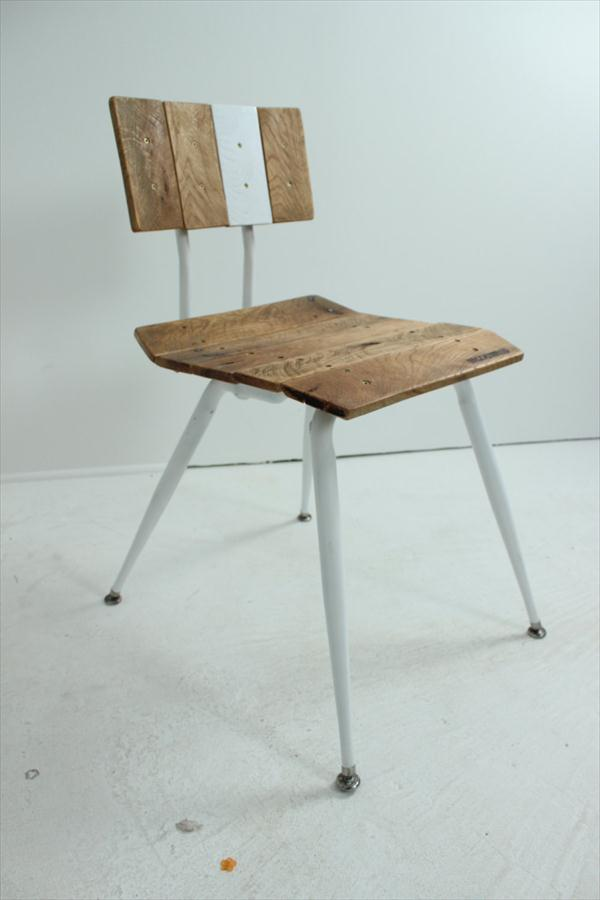 recycled pallet and metal vintage chair