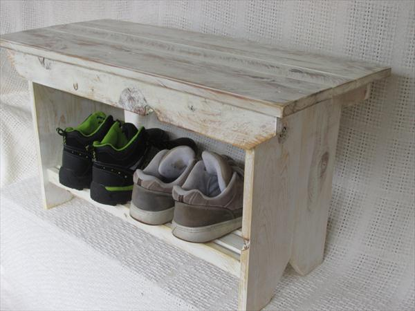 reclaimed distressed white pallet coffee table and farmhouse bench