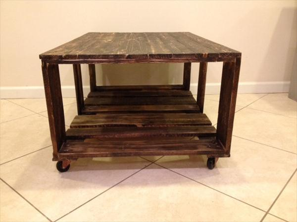 recycled pallet rolling coffee table with storage