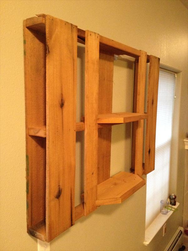 handmade pallet custom built shelf