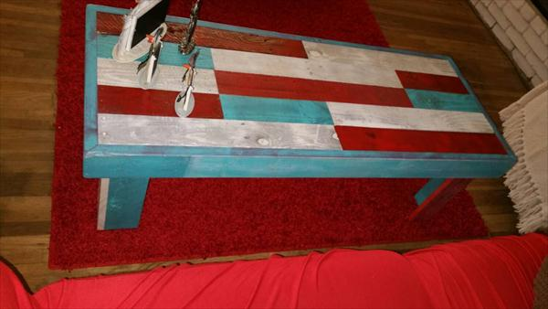 reclaimed pallet colorful coffee table and hallway table