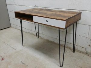 recycled pallet industrial table with metal legs