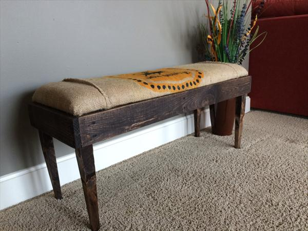 reclaimed pallet burlap cushioned mudroom bench