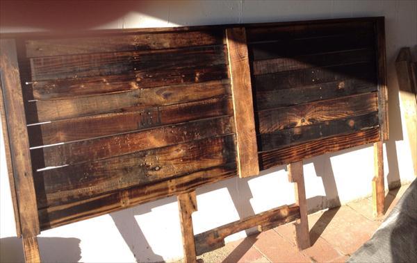 Diy pallet king size headboard pallet furniture plans for Diy pallet headboard king