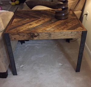 repurposed pallet chevron end table and side table
