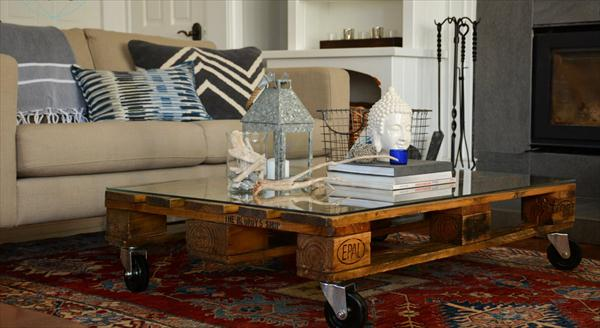 Diy Glass Top Pallet Coffee Table Pallet Furniture Plans