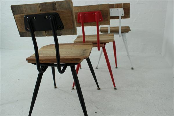 reclaimed pallet and metal chairs