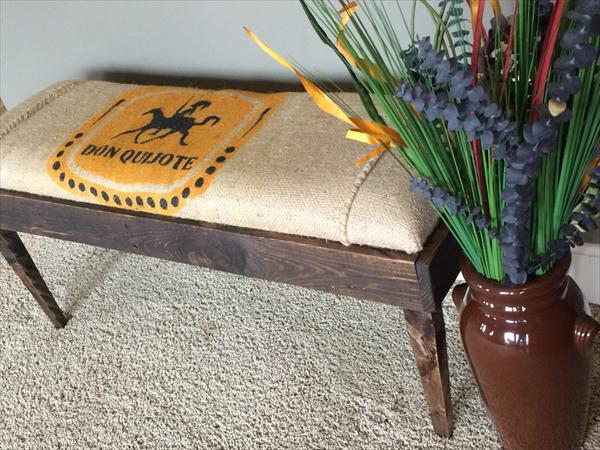 repurposed pallet burlap cushioned pallet mudroom bench