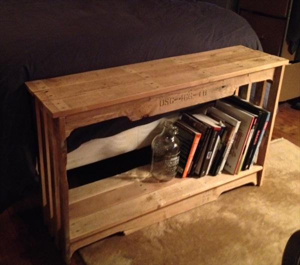 repurposed pallet table and bookshelf