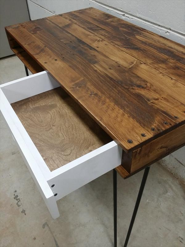 upcycled pallet desk with drawer and hairpin legs