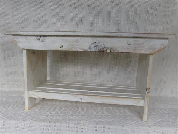 handmade distressed white pallet bench