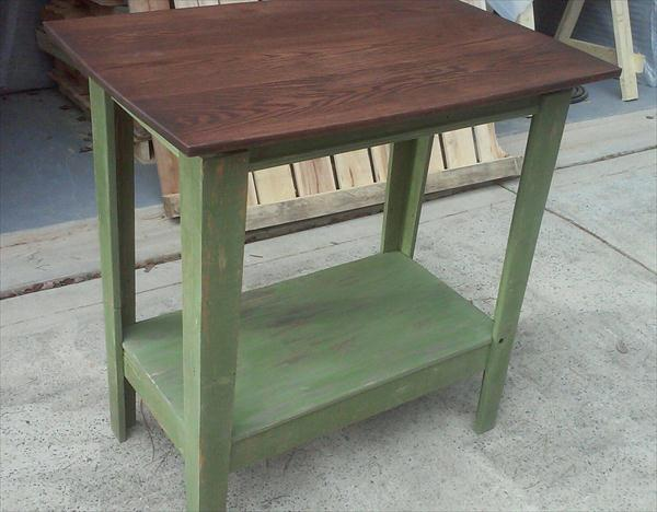 recycled pallet kitchen island and hallway table