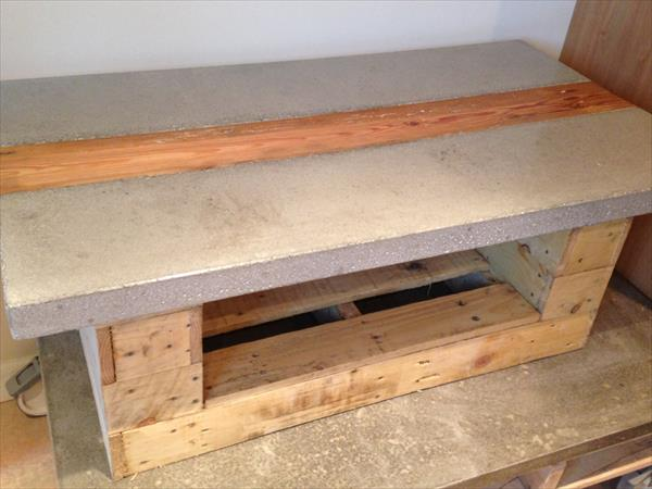 hand-built pallet coffee table with concrete top