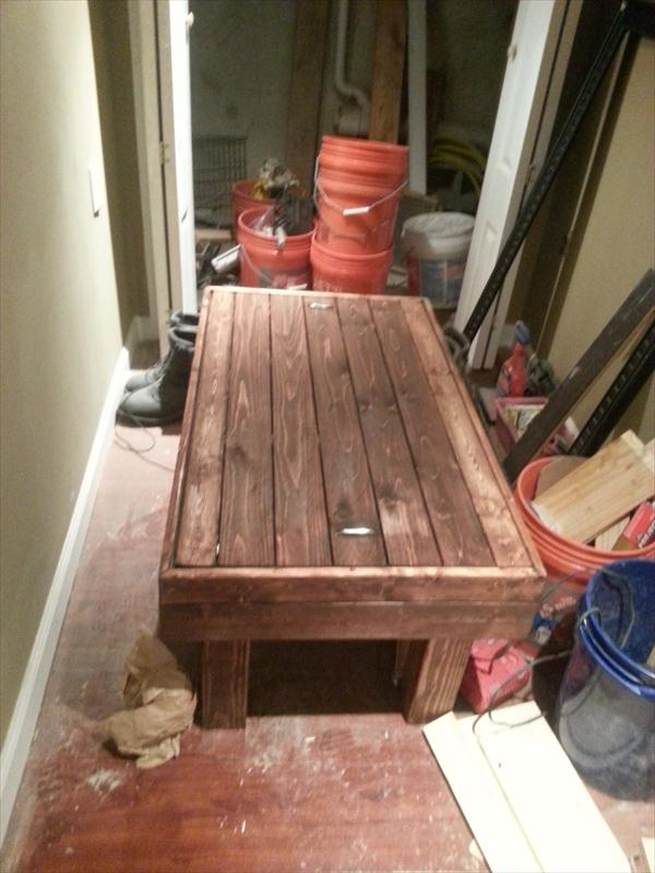 rustic yet modern pallet coffee table with secret stash