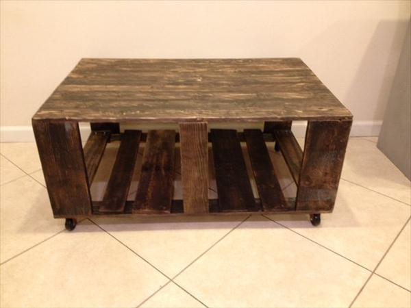 upcycled pallet vintage rolling coffee table