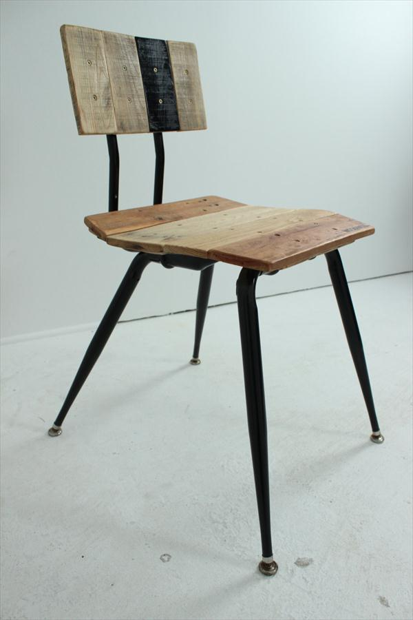 handcrafted pallet and metal chair