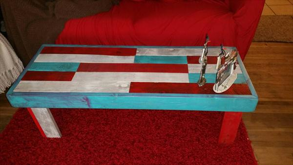 upcycled pallet colorful coffee table