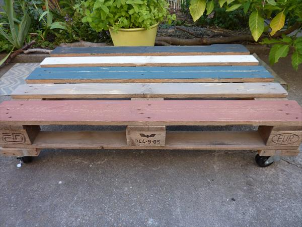 painted pallet patio coffee table with wheels