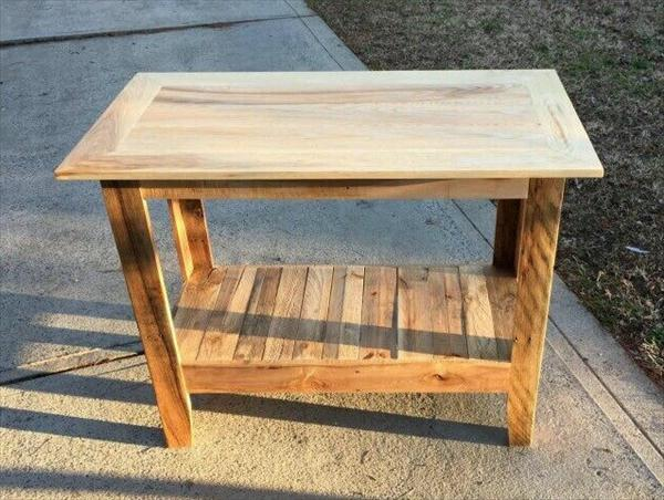 repurposed pallet kitchen island and hallway table