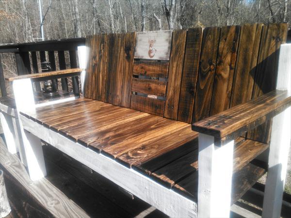 repurposed pallet two toned ridge bench