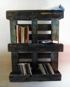 rustic vintage inspired pallet and metal sheet shelving