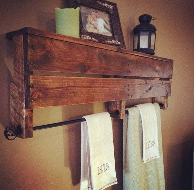 Diy Pallet Towel Rack With Shelf Pallet Furniture Plans