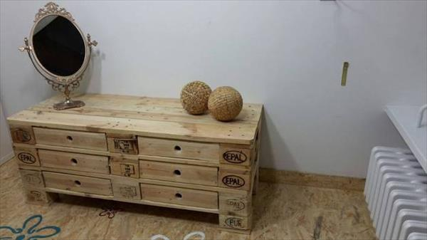 recycled pallet chest of drawers and media stand