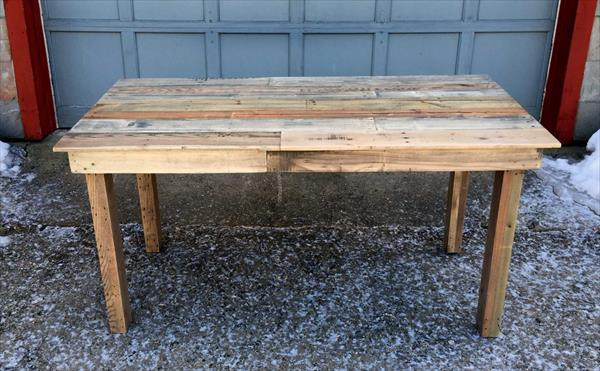 Recycled wood pallet kitchen table pallet furniture plans - Wood kitchen table plans ...