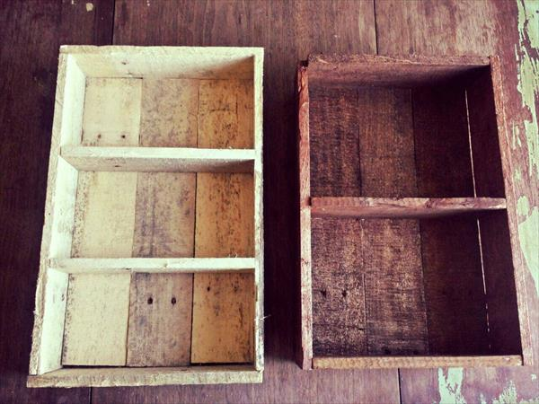recycled pallet shelves and spice racks