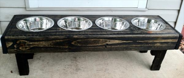 repurposed pallet dog bowl stand