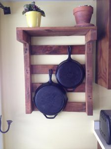 recycled pallet kitchen pot rack