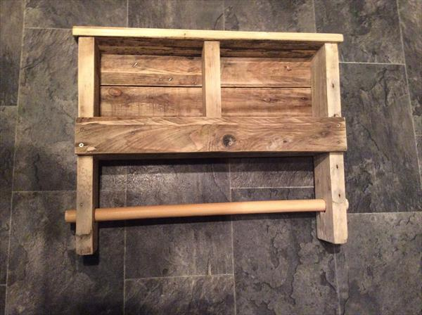 recycled pallet shelf with towel rack