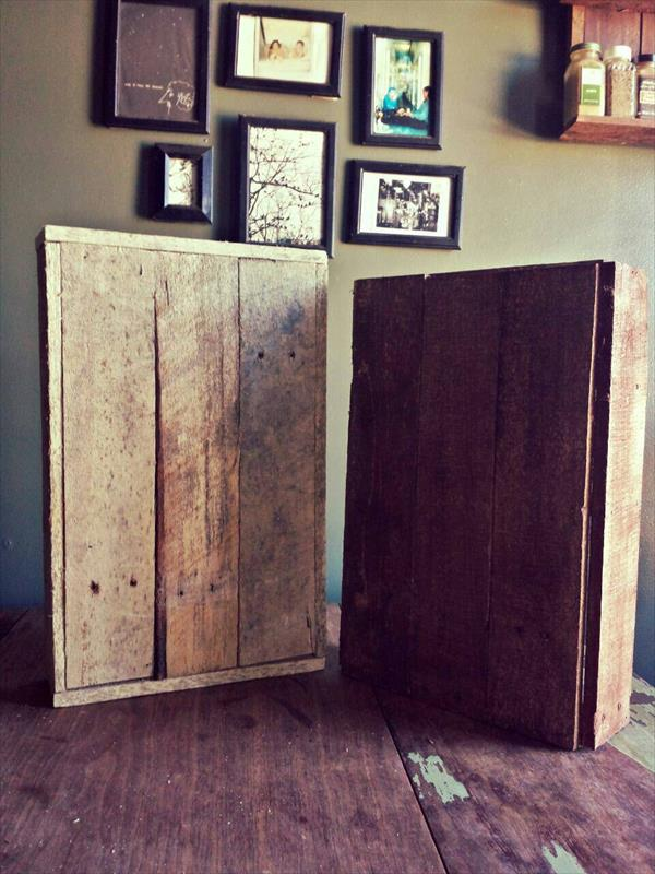 rustic pallet box style shelves and spice rack