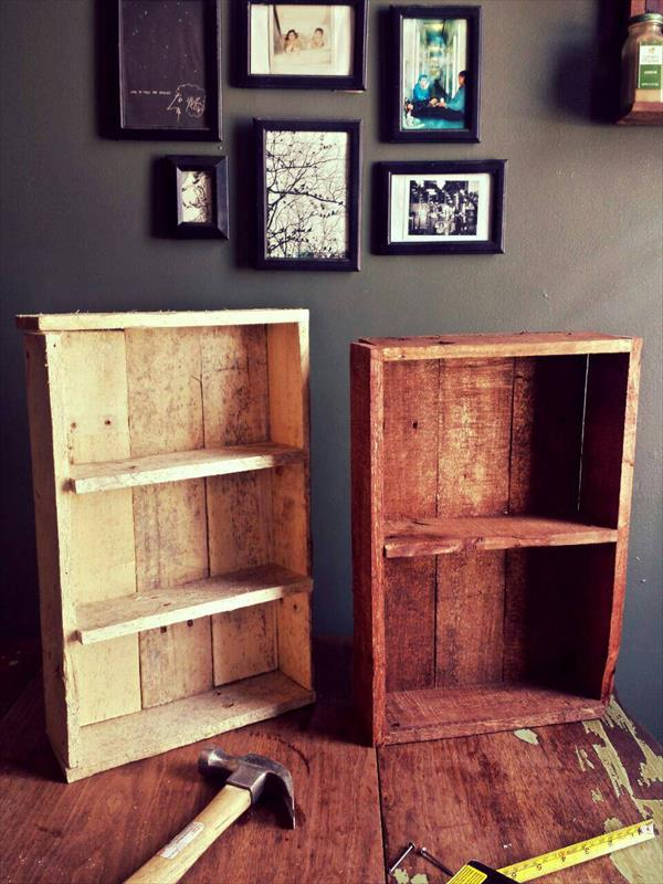 repurposed pallet box style shelves and racks