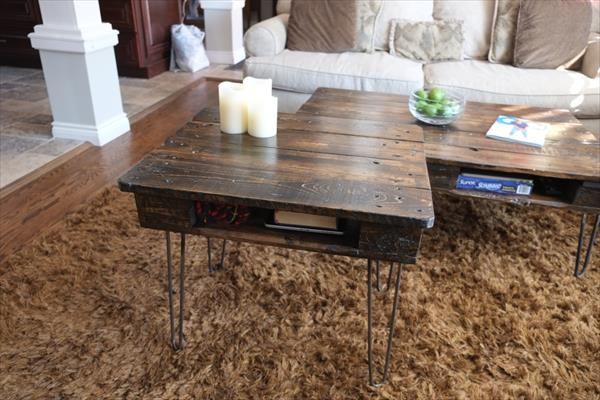 recycled pallet end table with metal hairpin legs