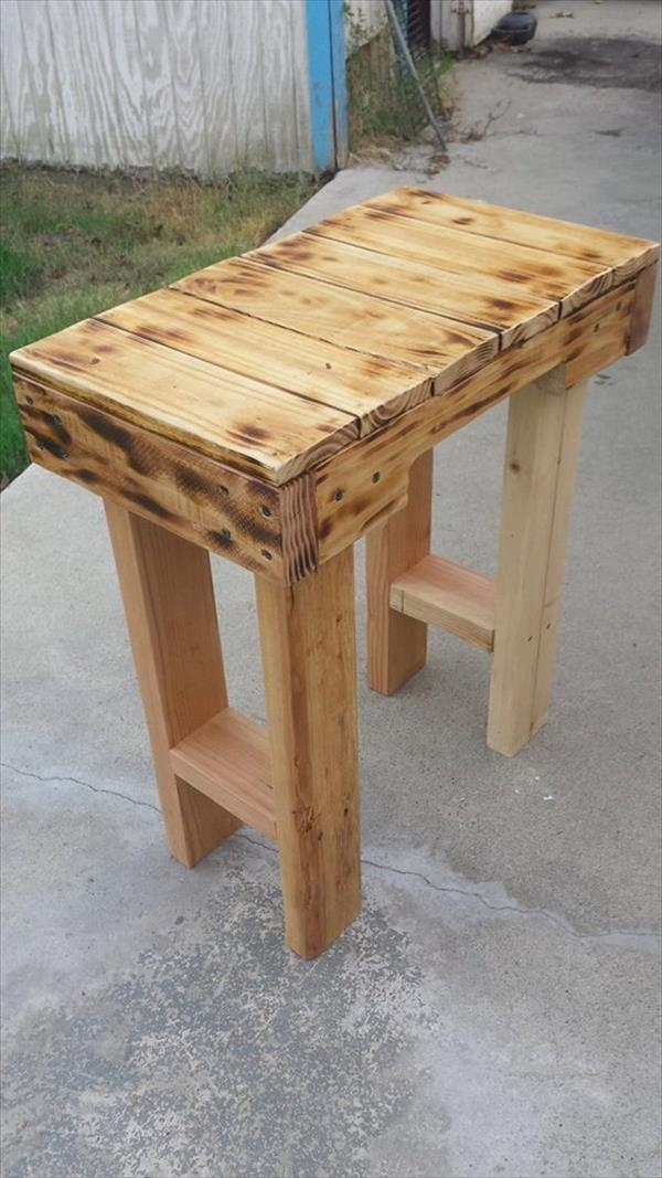 handmade pallet scorched end table