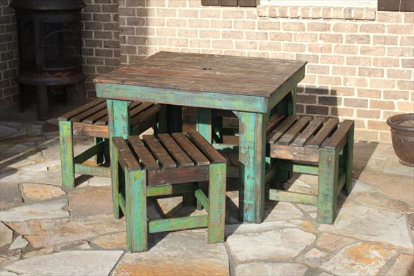 reclaimed pallet rustic breakfast table