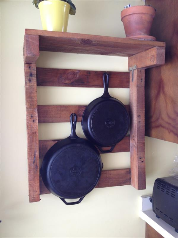 reclaimed pallet kitchen pot rack