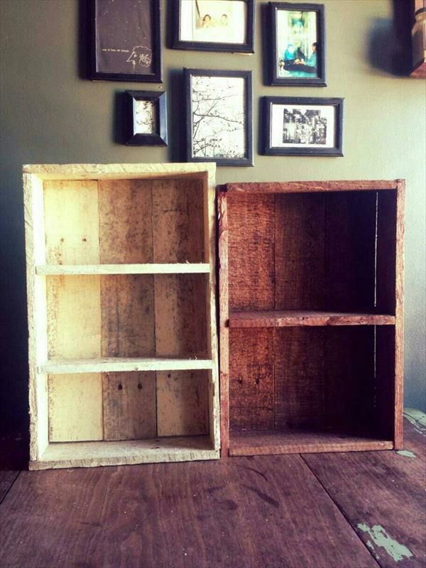 diy pallet box style shelves and spice racks