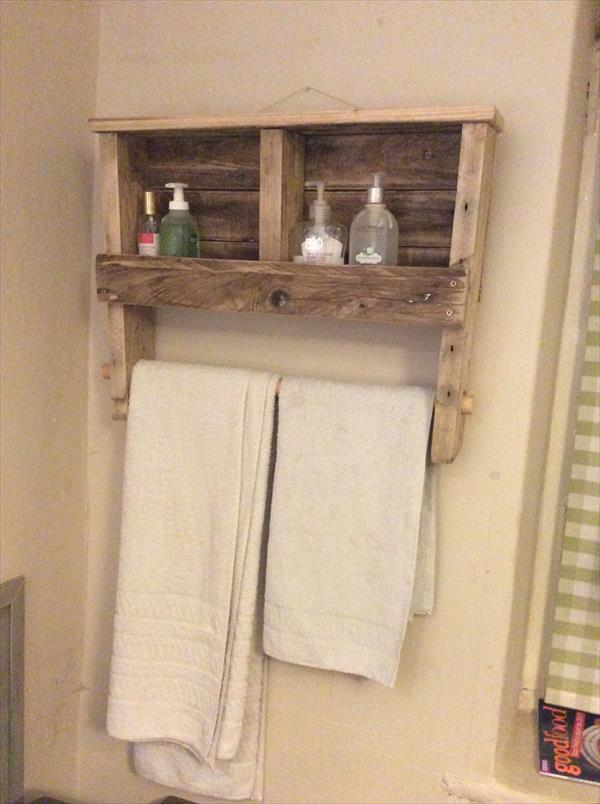reclaimed pallet towel rack with shelf