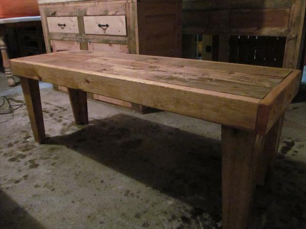 upcycled pallet rustic bench