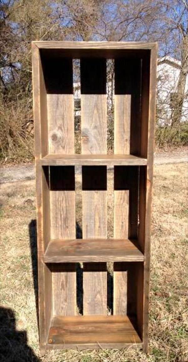 diy custom built pallet shelf