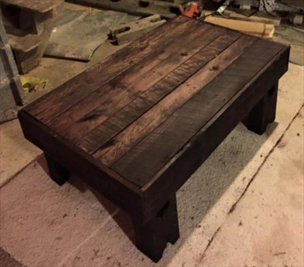 wooden pallet black stained coffee table