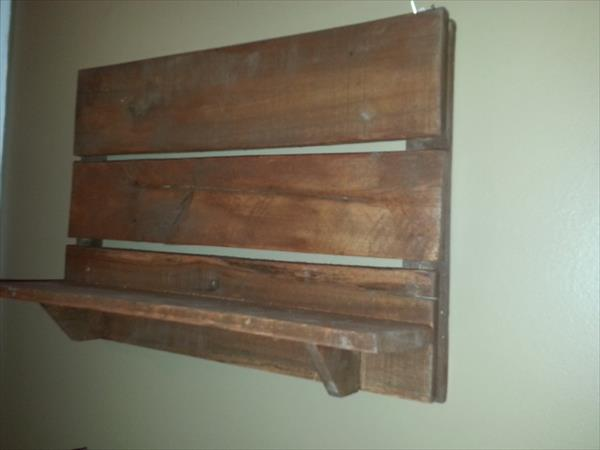 upcycled rustic pallet wall shelf
