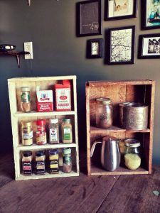 diy pallet box style shelves and spice racks
