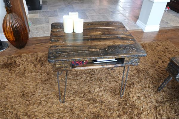 repurposed pallet end table with storage