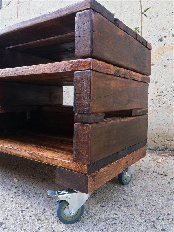 repurposed pallet TV stand and media console